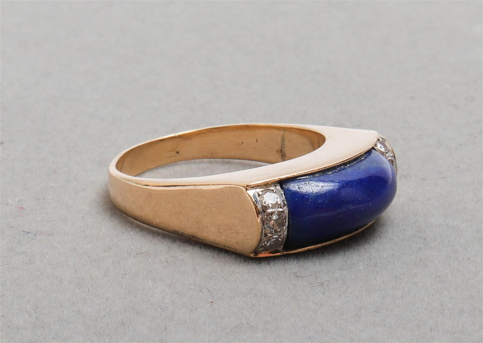 Vintage 14K Yellow Gold Lapis & Diamond Ring
