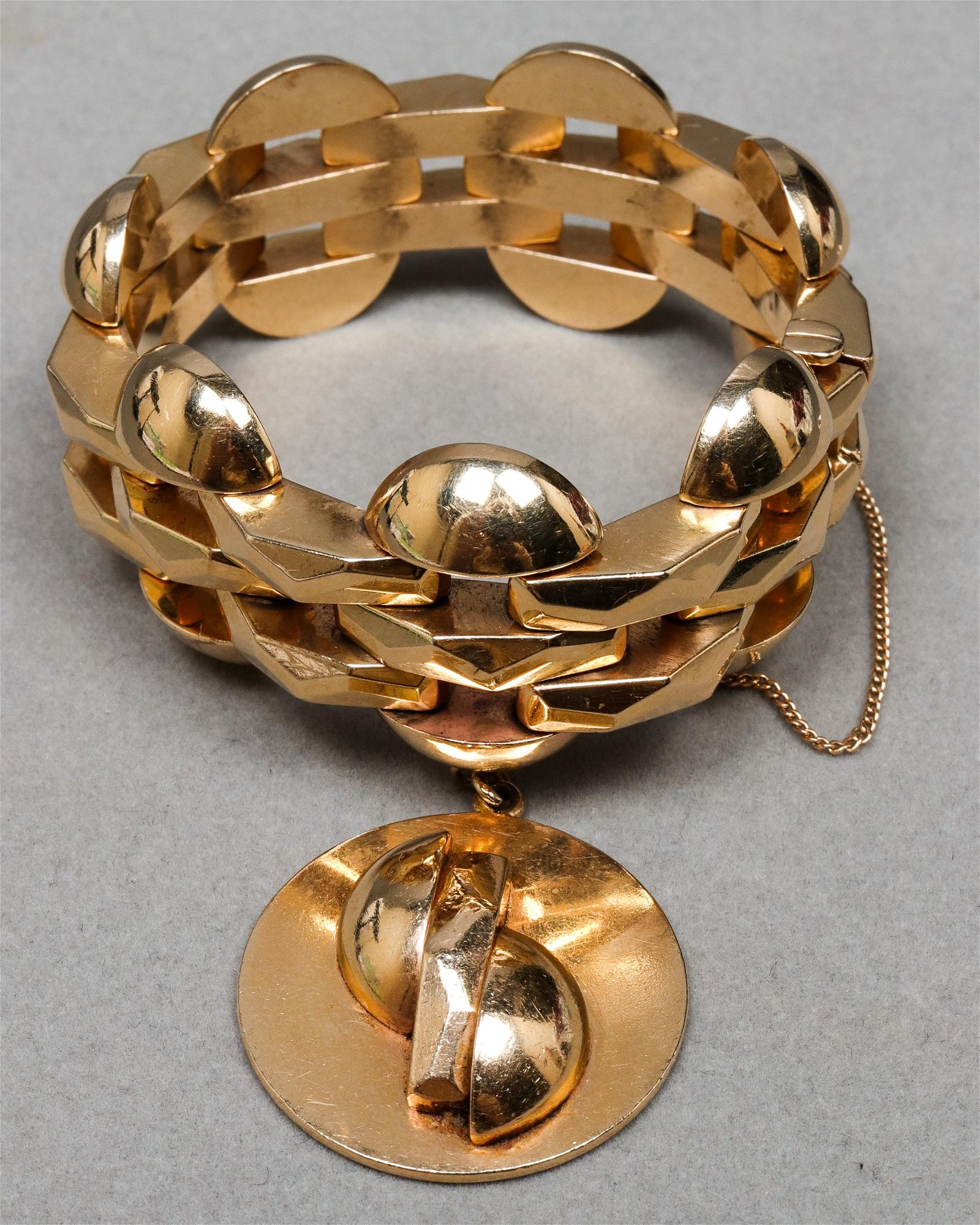 Retro 14K Yellow Gold  Wide Link Charm Bracelet