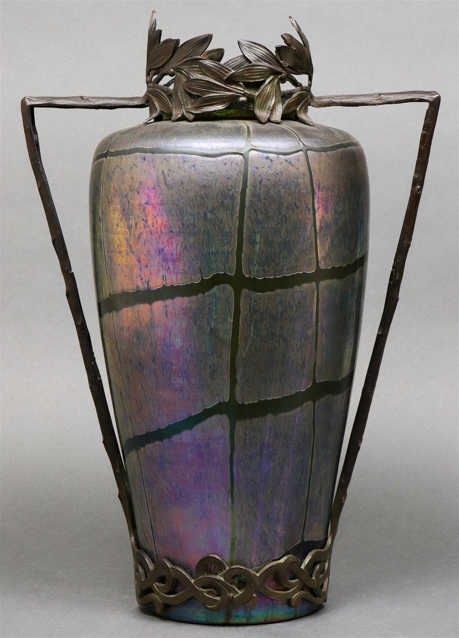 Loetz Attributed Bronze Mounted Iridescent Vase