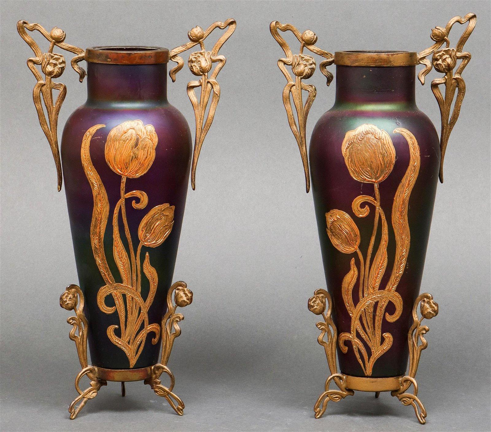 Art Nouveau Iridescent Glass & Metal Vases, Pr