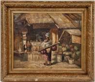 "Gyula Tornai ""Oriental Market"" Oil on Canvas"