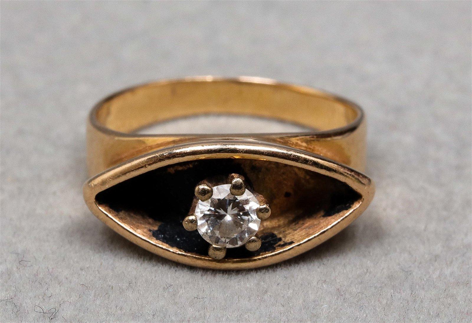 Mid-Century Modern 14K Yellow Gold Diamond Ring