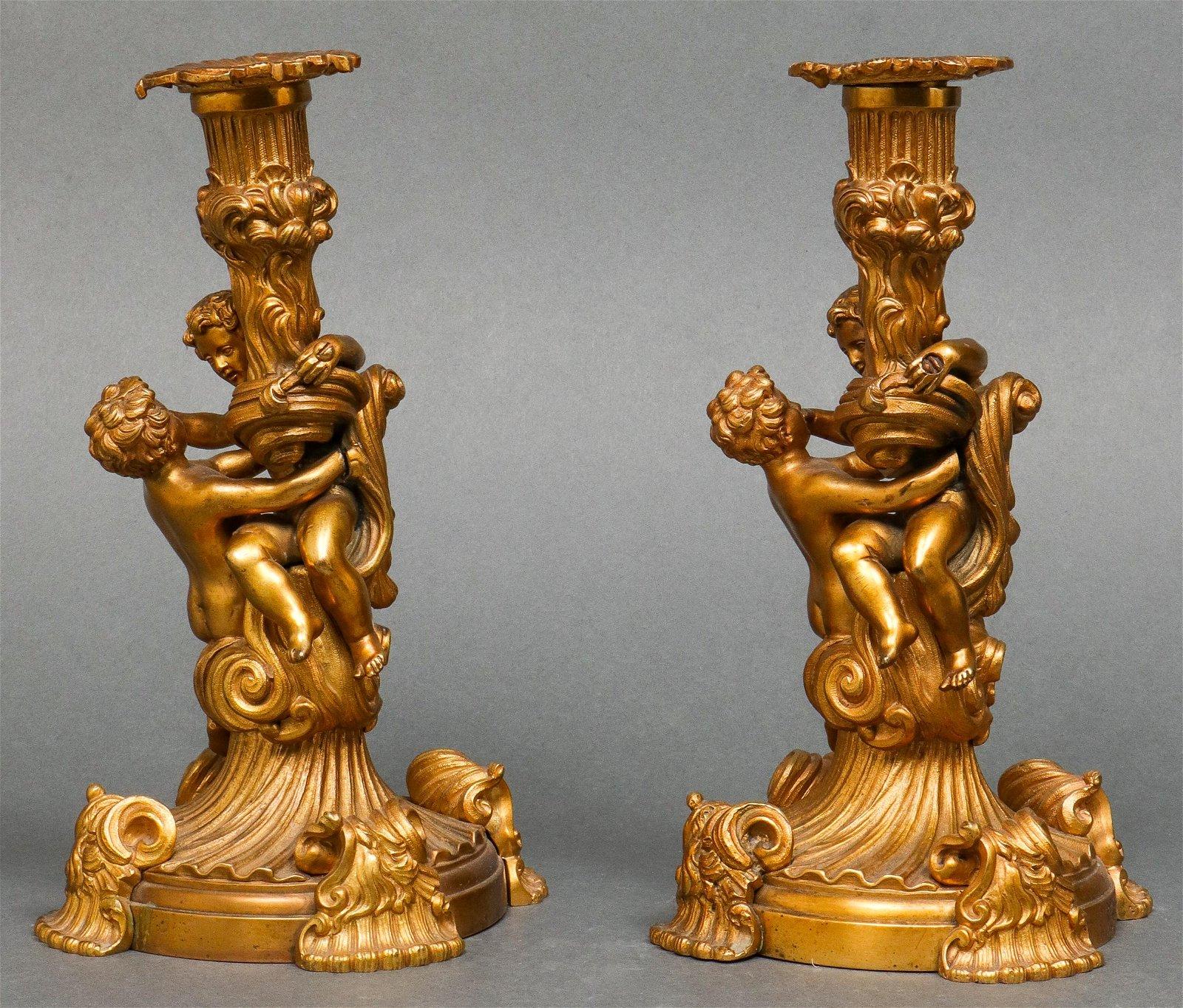 Louis XV Style Figural Gilt Bronze Candlesticks Pr