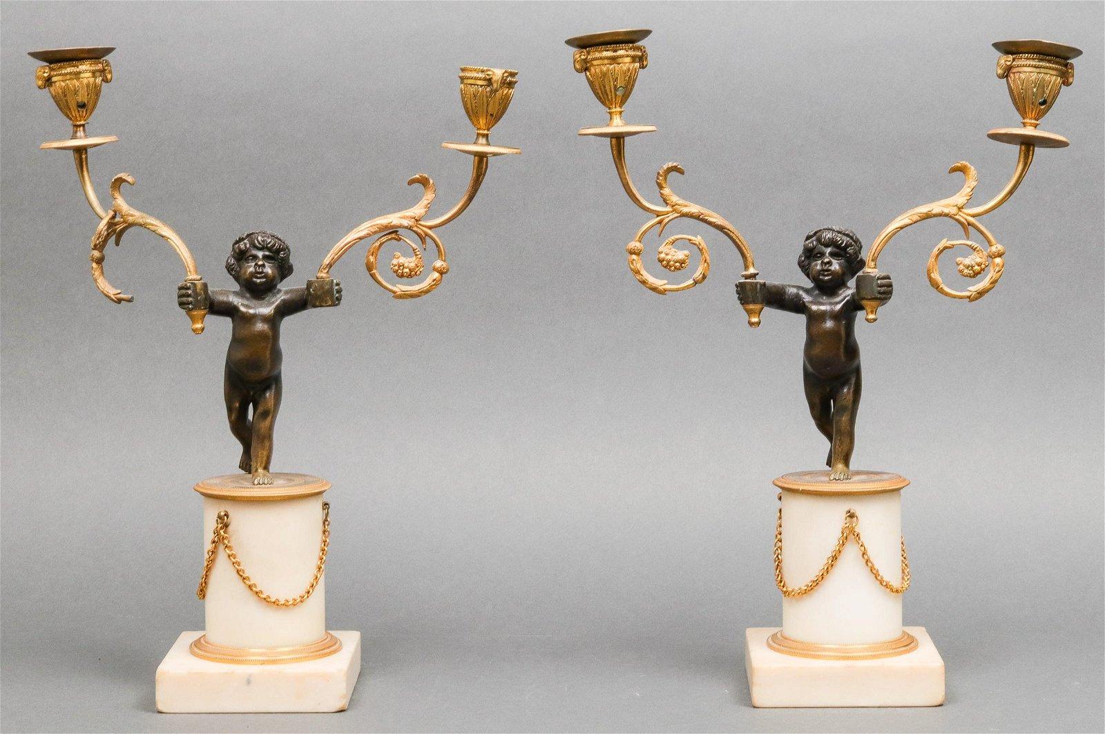 French Ormolu Bronze & Marble Putti Candelabra, Pr