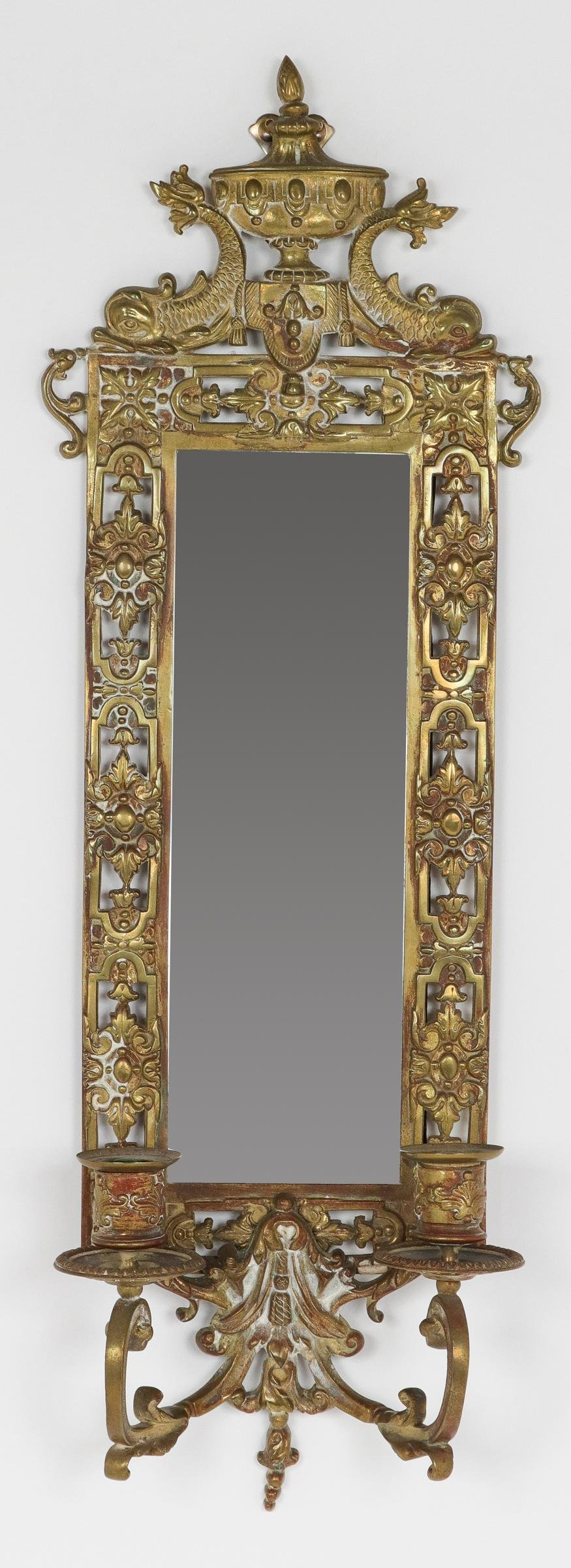 Bradley & Hubbard Style Mirrored Brass Wall Sconce