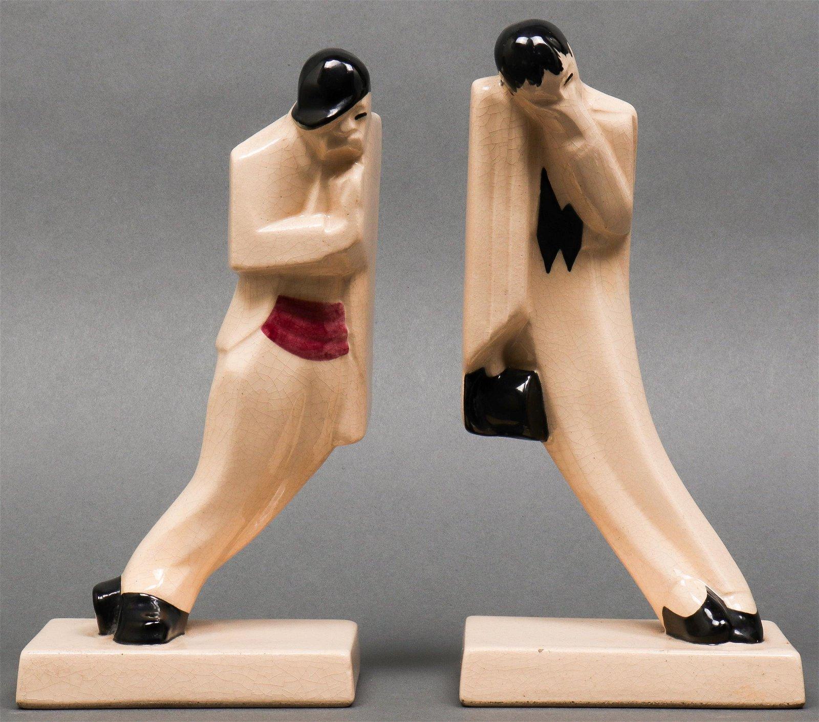 Art Deco Manner Crackle Glazed Figures, Pair
