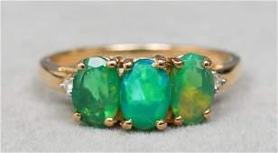 10K Yellow Gold, Green Opal & Diamond Ring