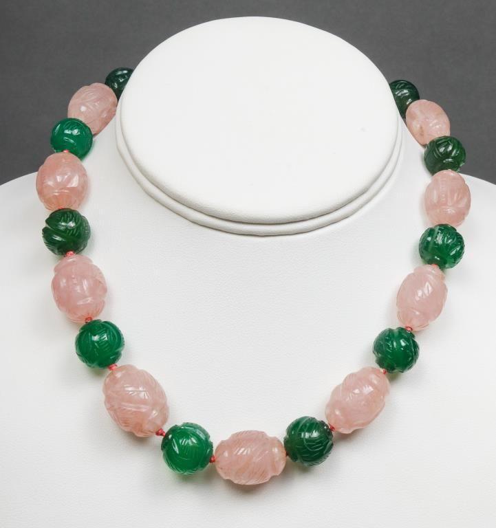 Silver Rose Quartz Chalcedony & Marcasite Necklace