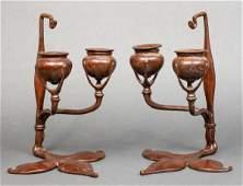 Tiffany Bronze Fleur-De-Lis Candlesticks, Pr