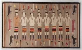 Navajo Yeibichai Weaving with Animal Border