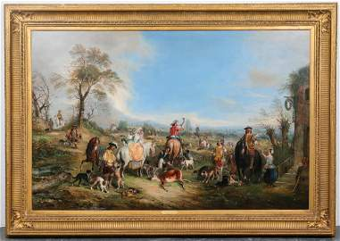 "Henry Andrews ""Hunting Party"" Large Oil on Canvas"