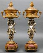 French Neoclassical Style Bronze Covered Urns Pr