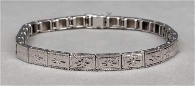Art Deco 14K White Gold Engraved Bracelet, c. 1930