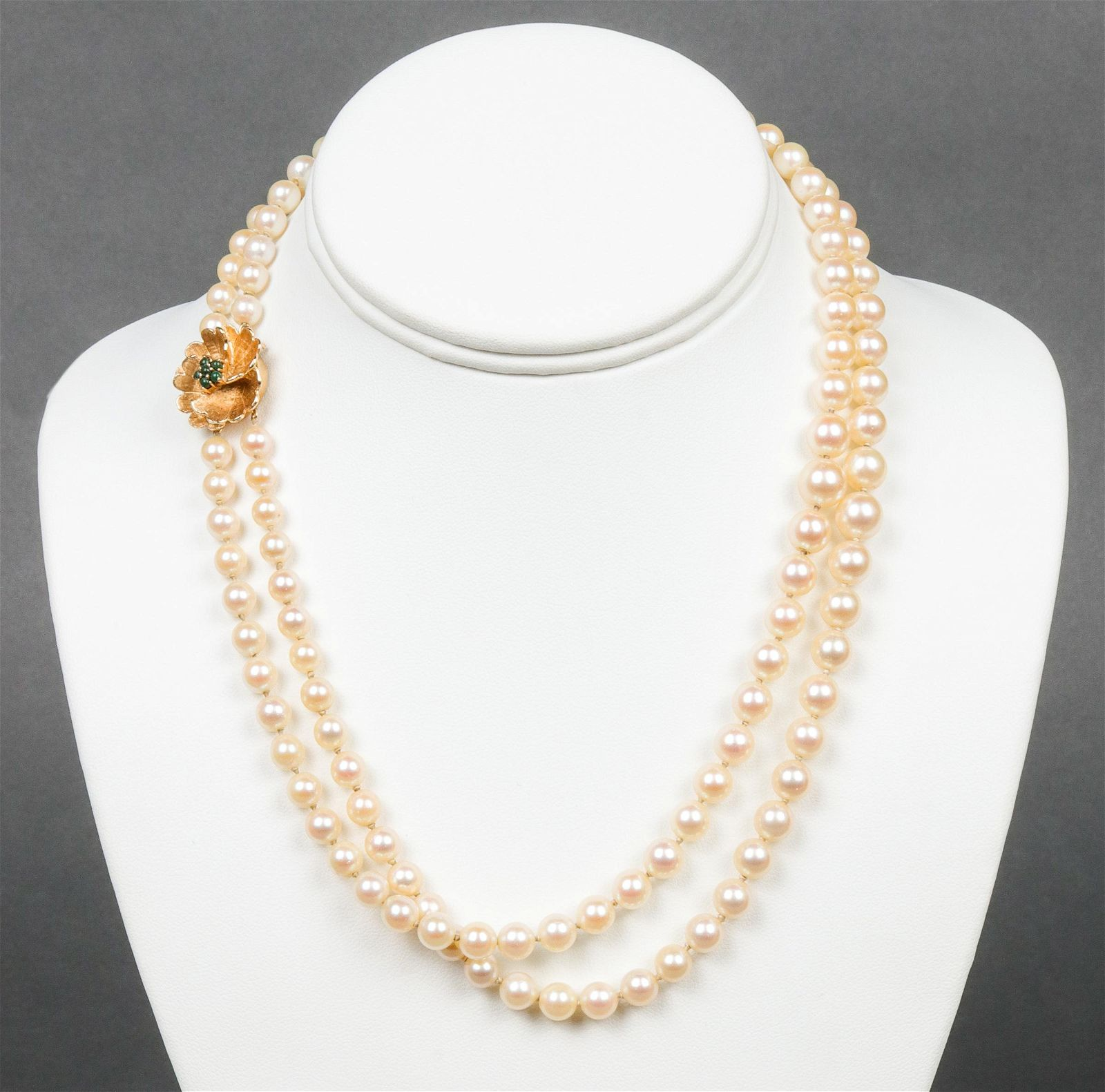 Mid-Century 14K Clasp Double Strand Pearl Necklace