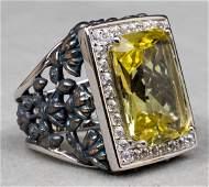 Silver Lemon Quartz & White Topaz Floral Ring