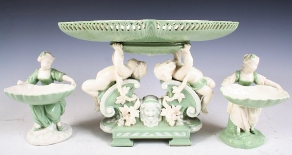 2: 3-piece 19th-C Porcelain Table Service - Minton