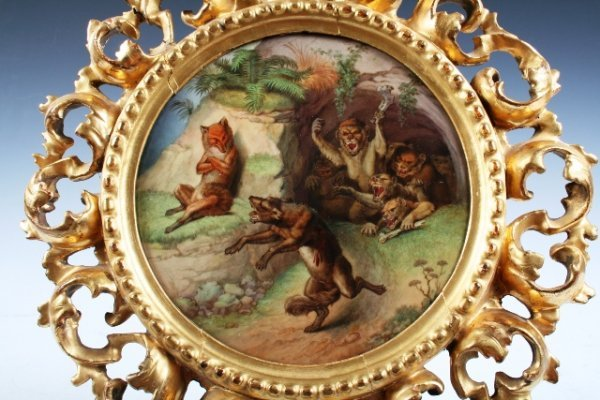 4: 19th-C Reynard the Fox Oil-Painted Porcelain