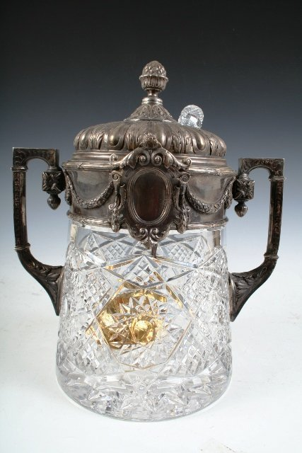 7: Russian Crystal-and-Silver Punch Bowl w/Ladle