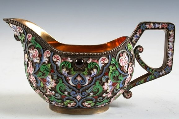 8: 19th-C Russian Silver-and-Enamel Creamer