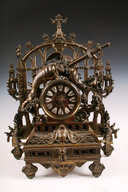 10: 19th-C Gothic-Style Bronze Dragonslayer Clock