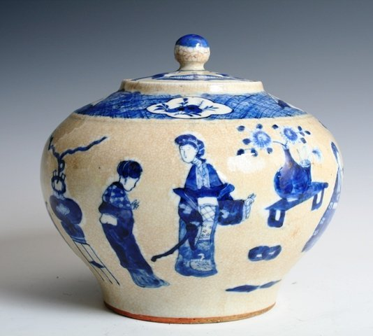 17: 19th C Chinese Covered Porcelain Jar