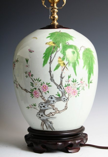 19: Chinese Early 20 C Porcelain Lamp Jade Filial