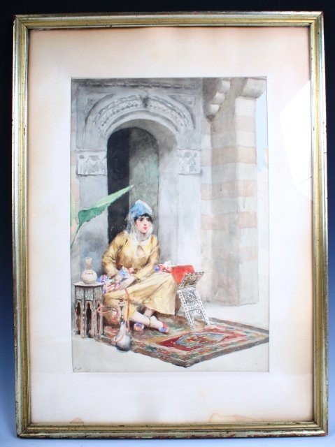 180: 19th C Orientalist Watercolor Probably Italian