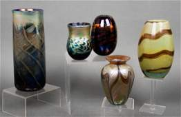 Art Glass Swirl & Feathered Vases, Group of 5