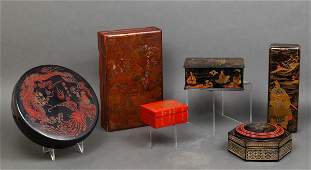Asian Lacquered Decorated Boxes, 6