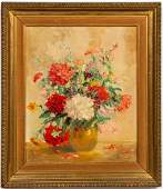 Illegibly Signed Still Life w Flowers Oil
