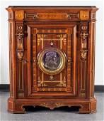 Marquetry Inlaid Portrait Plaque Cabinet, Antique