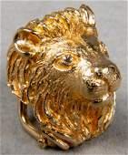 Karbra 14K Gold  Diamond Lion Slider Pendant 1967
