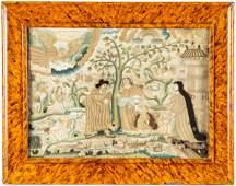 17th C. Silk Stumpwork Picture of Genesis 21