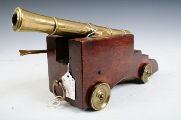 13: French 18th-C Miniature Bronze Naval Cannon