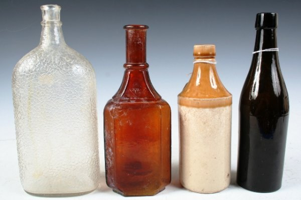 17: Lot of 4 Large Various Antique Bottles