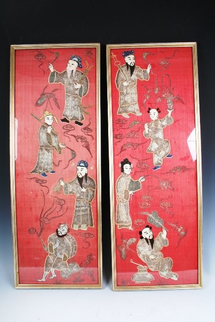 22: 2 Chinese Embroidered Silk w/8 Immortals 19th C