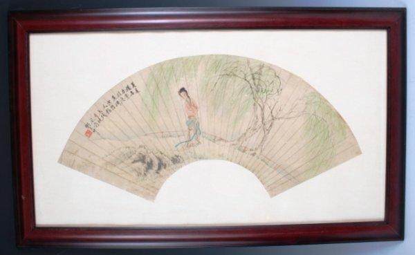 23: Pair of Chinese Fans, Hand-Painted and Framed