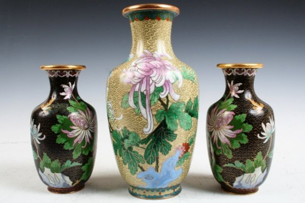 24: 3-Piece Set of Chinese Cloisonne Footed Vases