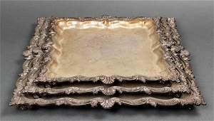 Silver Plate Nesting Footed Trays, Set of 3
