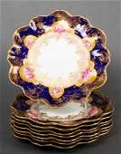 Aynsley English Porcelain Scalloped Rim Plates, 8
