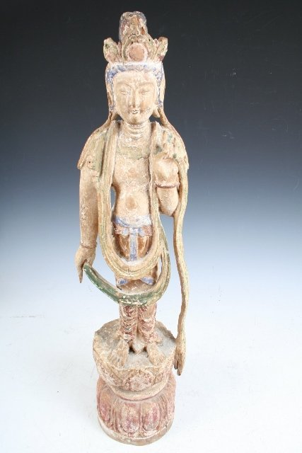 4: Chinese Wood Deity Figure Androgynous 18th C.