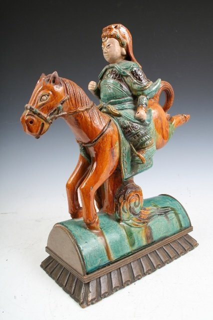 8: Chinese Horse Warrior Ceramic Roof Tile 19th C.