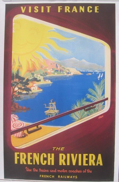 16: French Railways Riviera Poster by Starr c 1950s