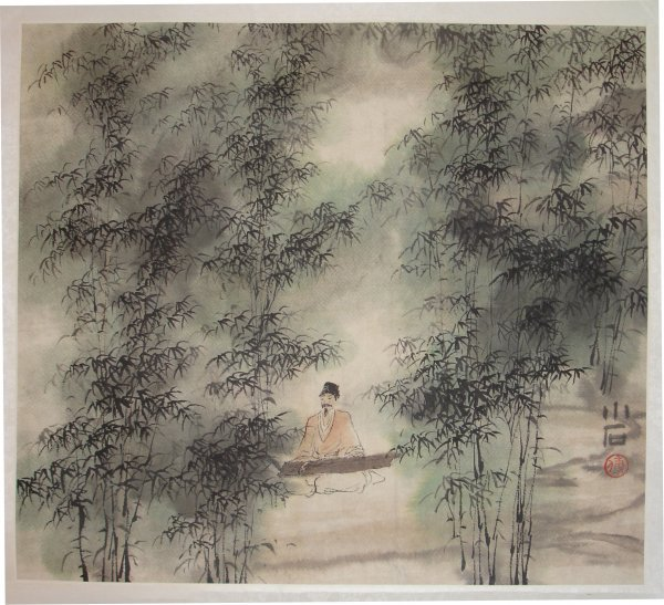 20: Chinese Scroll Musician Seated in Bamboo Grove