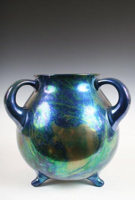 419: Zsolnay Hungary 3-Handled Nouveau Vase