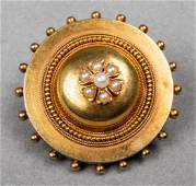 Victorian 14K Yellow Gold & Pearl Brooch / Pendant