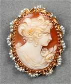 14K Yellow Gold Cameo & Seed Pearl Brooch/Pendant