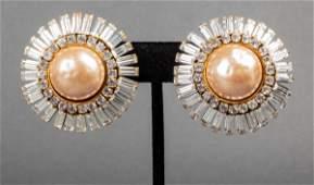 Chanel Faux Diamond  Mabe Pearl Earrings