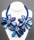 Vilaiwan Lapis, Aquamarine & Faux Opal Necklace