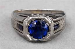 Art Deco 18K White Gold Sapphire Gent's Ring
